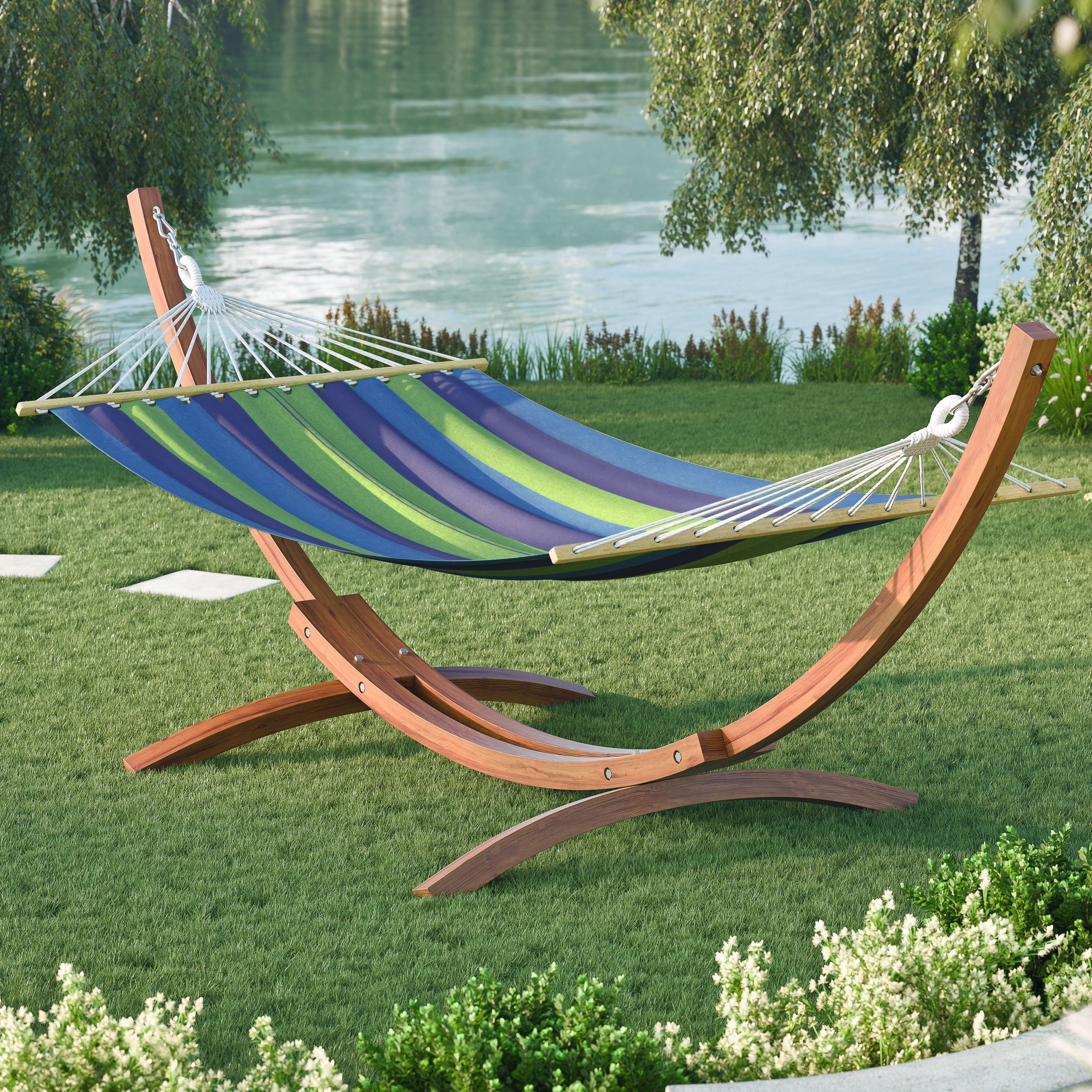 corliving wood canyon freestanding canvas hammock  blue   cotton   pwc 3x4 corliving wood canyon freestanding canvas hammock  blue   cotton      rh   pinterest