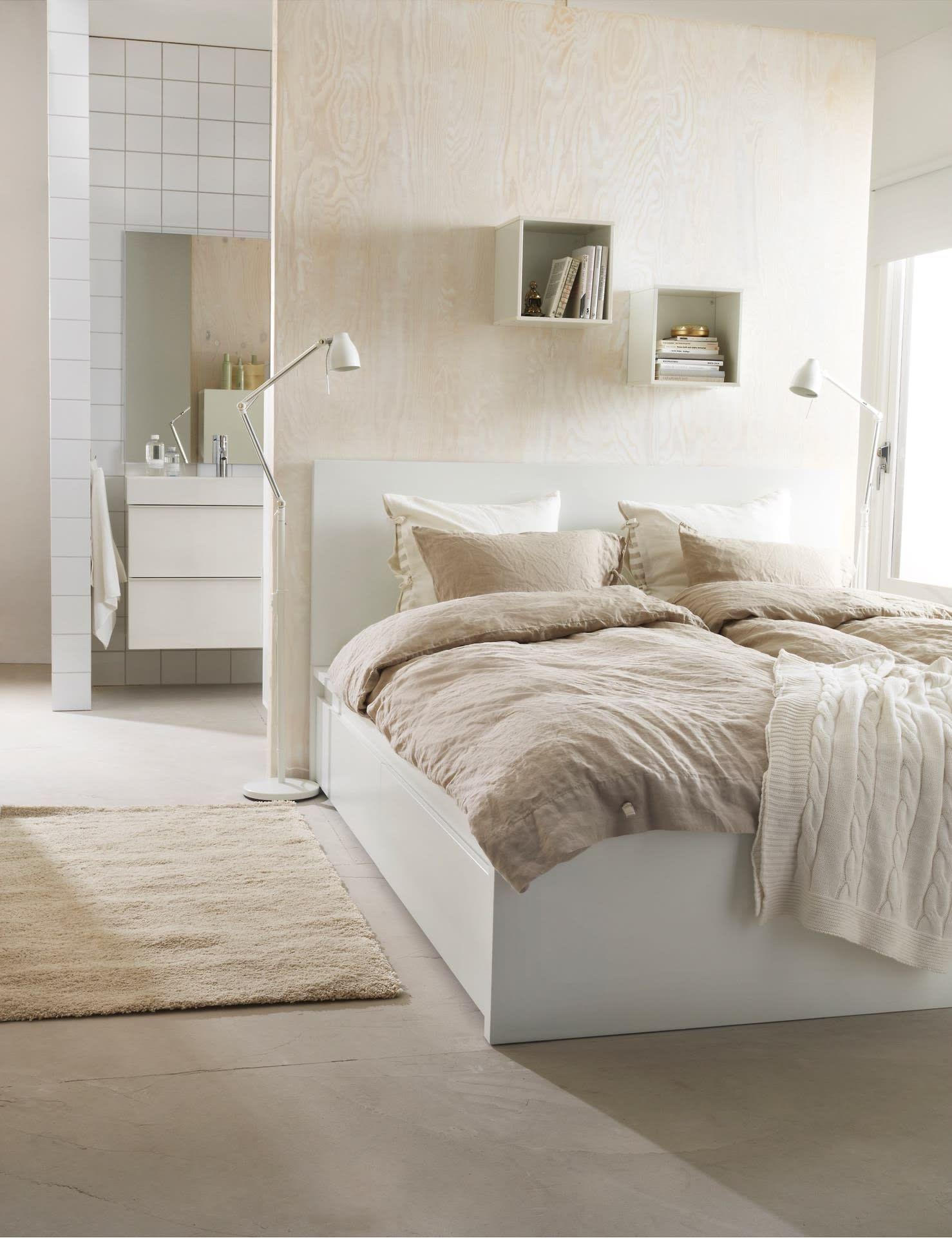 Bedroom Vintage Wooden Ikea Malm Platform Bed Set On Laminate