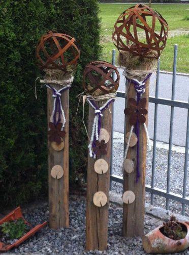 details zu rostkugel garten deko bänderkugel metallkugel edelrost, Gartenarbeit ideen