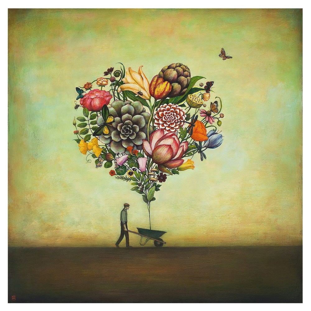 Big Heart Botany by Duy Huynh Unframed Wall Art Print, Green   Products