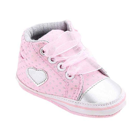 Tiean Baby Girl Canvas Sneaker Shoe With Heart Shape 12 Pink * Want additional info? Click on the image.