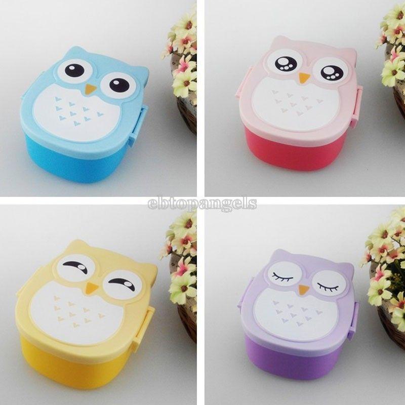 Owl Portable Bento Lunch Box Plastic Cute Cartoon Food Fruit Storage