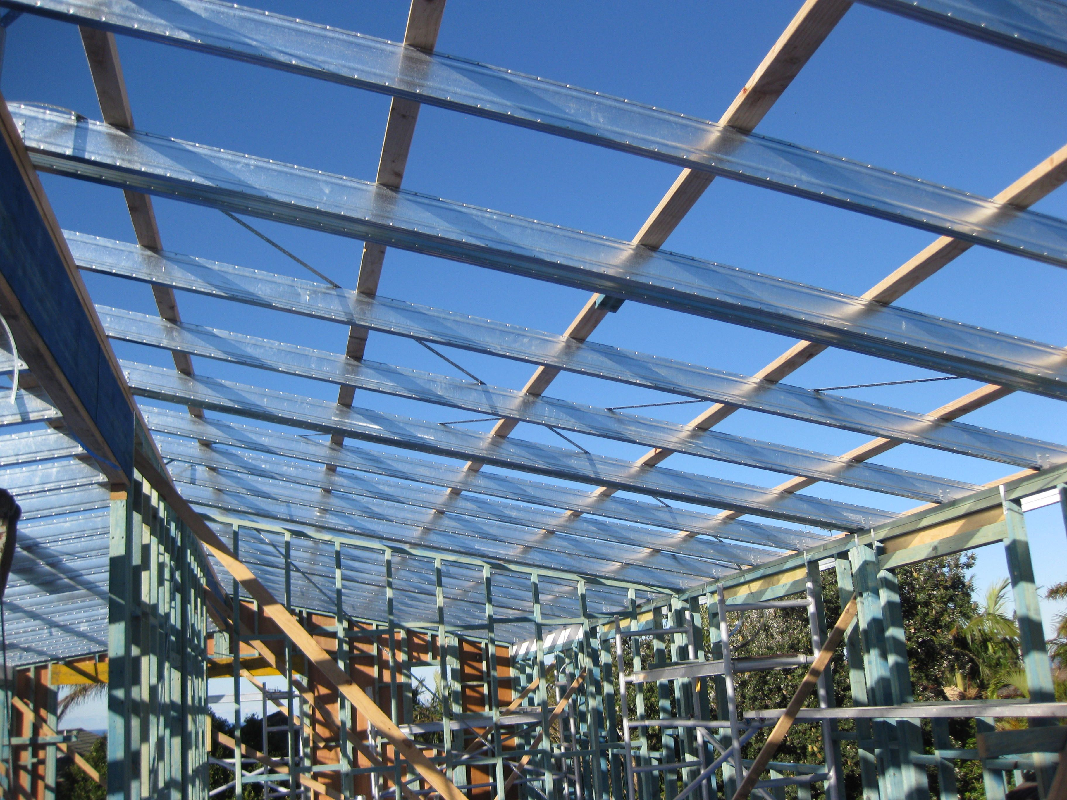 Timber wall frames and Spantec Boxspan Steel roof frame. | Second ...