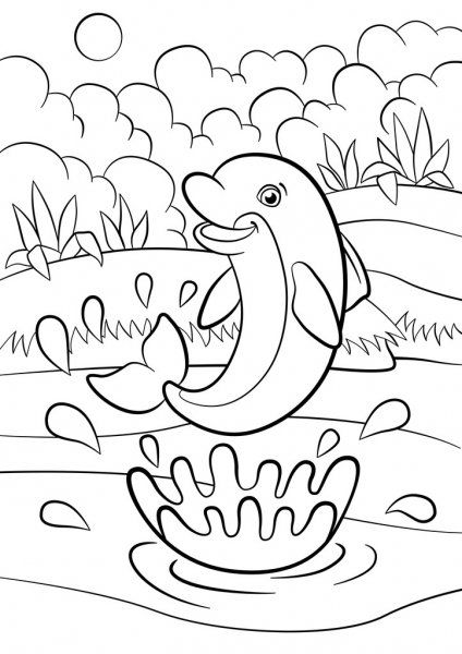 coloring pages marine animals dolphin