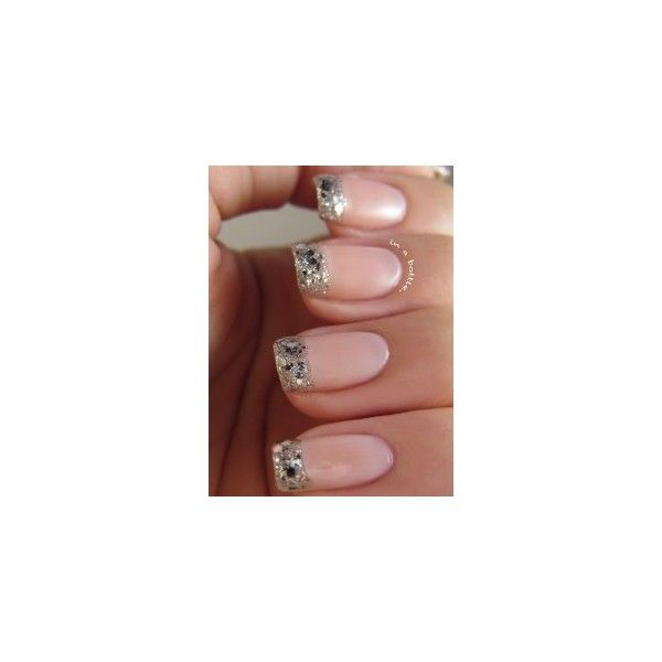 Manicure Monday Glitter French Tips ❤ liked on Polyvore featuring beauty products and nail care