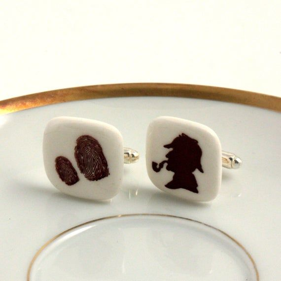 Cuff Links Sherlock Holmes Porcelain Silhouette Fingerprints Handmade Literature White Brown Detective Stories