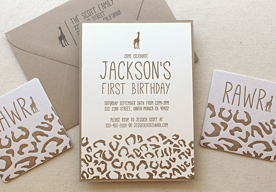Birthday first birthday invitations safari animals zoo giraffe these animal safari birthday party invitations are beyond fun this letterpress invitation is perfect for any animal loving little one out there filmwisefo Images
