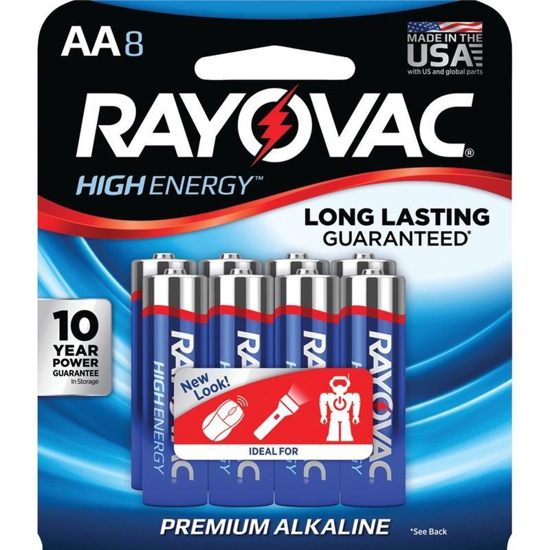 Rayovac Aa Alkaline Batteries 8 Pk Alkaline Battery Alkaline High Energy