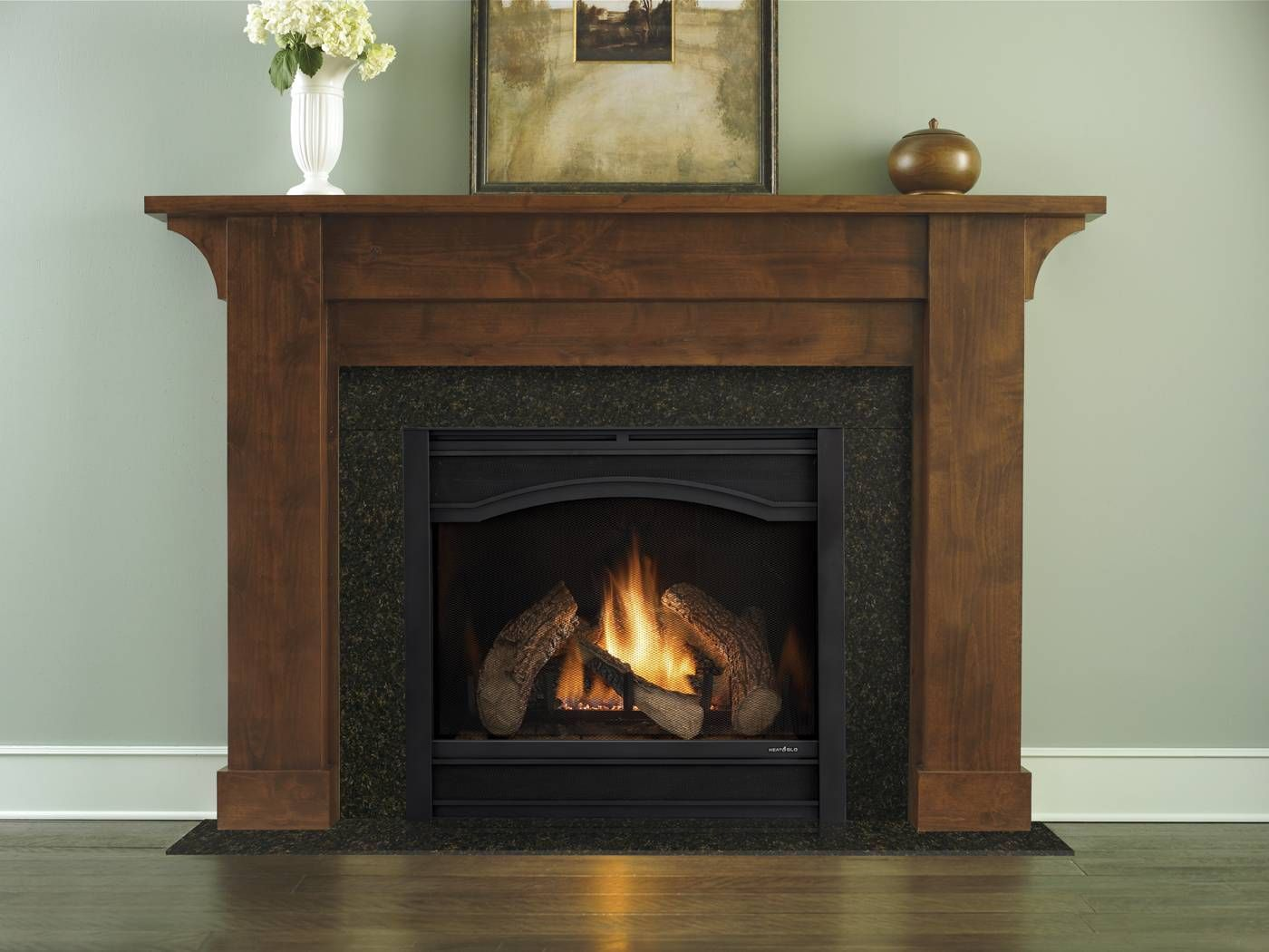 Heat Glo 6000 Clx With Arcadia Front Simple Wood Mantel