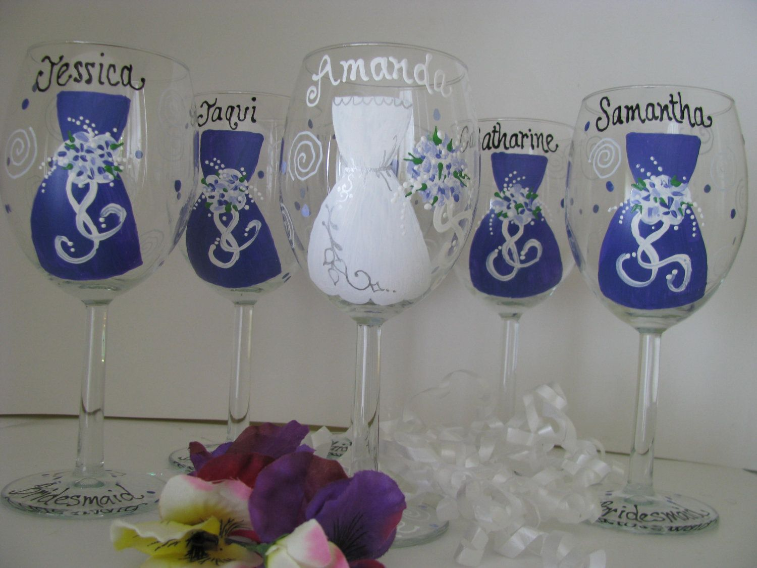 How to decorate wine glasses for bridesmaids - Glass Hand Painted Wine
