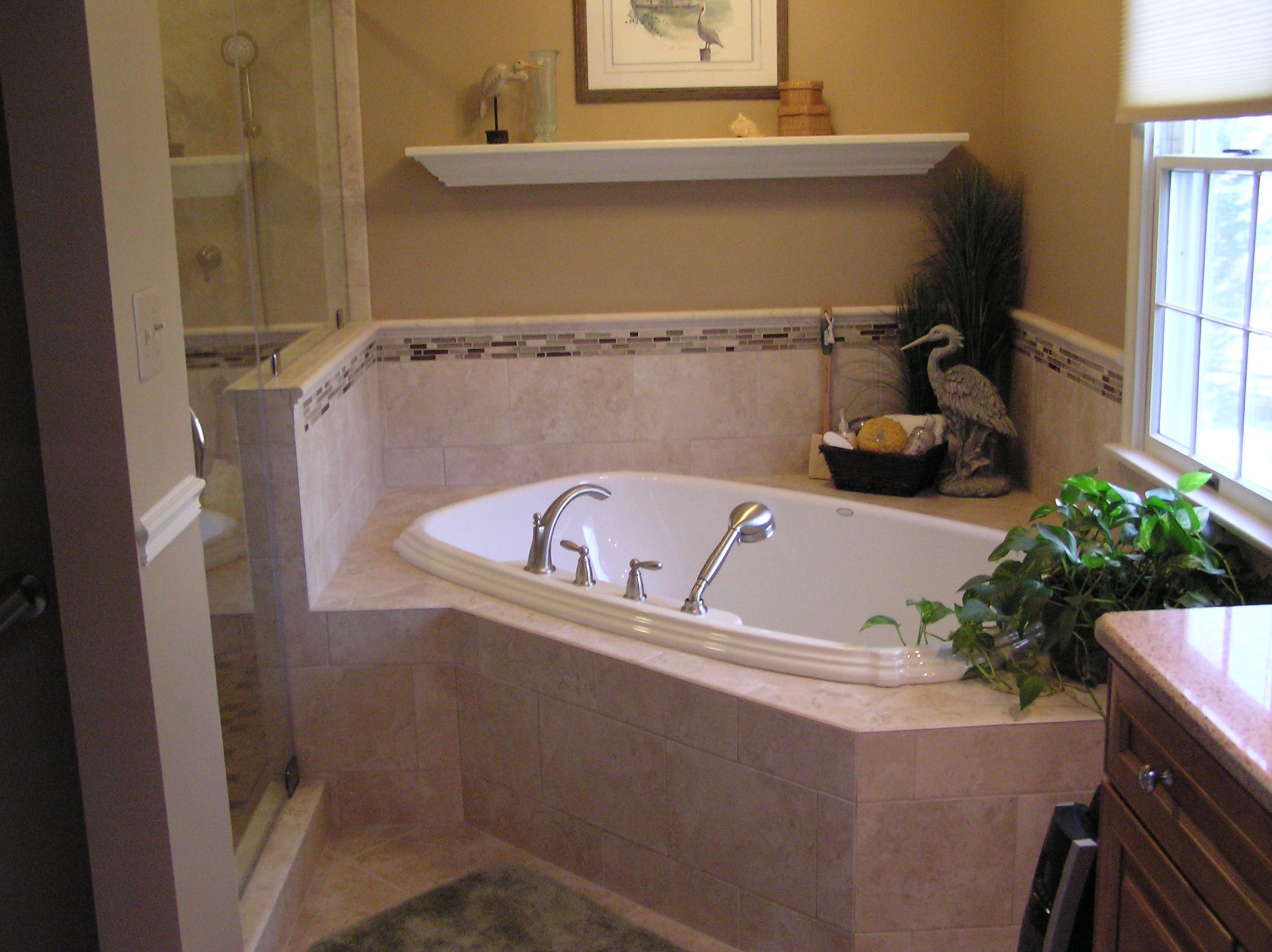 Small master bath remodel ideas the corner tub is the center of the new master bathroom design