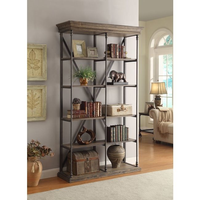 Bedford Double Bookcase   Pine | Value City Furniture