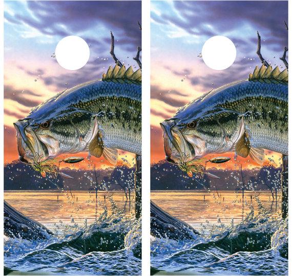 Bass Jumping Fishing Cornhole Decal Wrap by MillerGraphicsVA