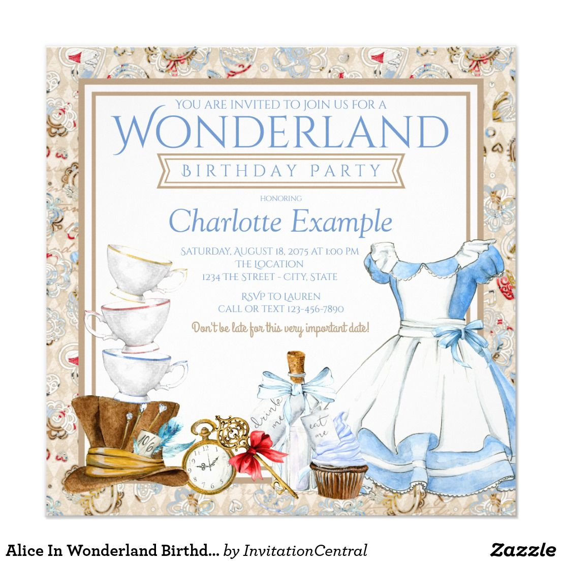 Alice In Wonderland Birthday Party Invitation | { Happy Birthday ...