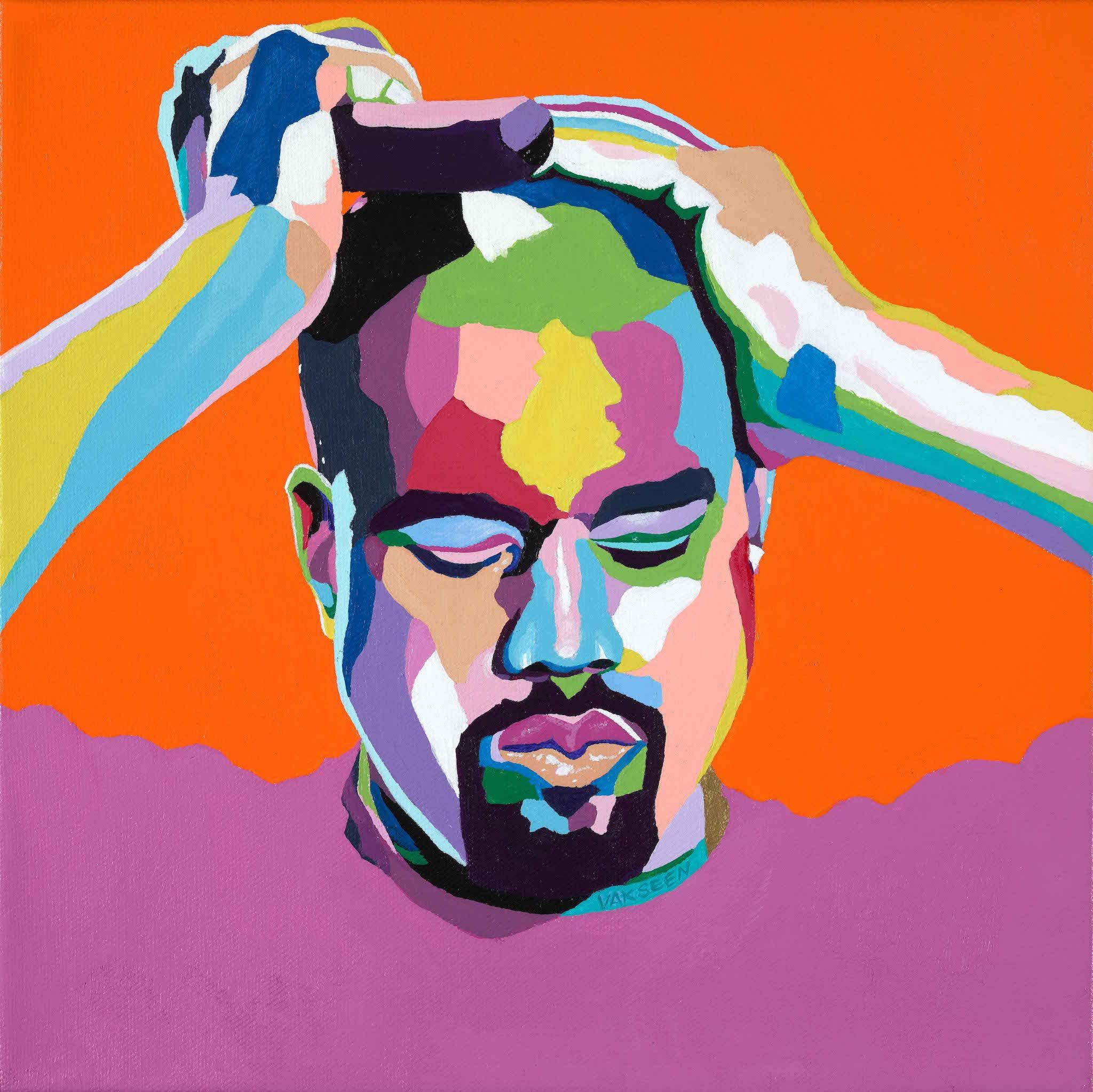 Vakseen Art Mood Kanye Kanye West Portrait Art Limited Edition Yeezy Stickers For Wall Decor Laptops Skateboards Etc Hip Hop Art Kanye West Portrait Art