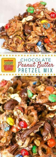 Photo of The perfect mix of sweet and salty, this chocolate peanut butter pretzel mix is …