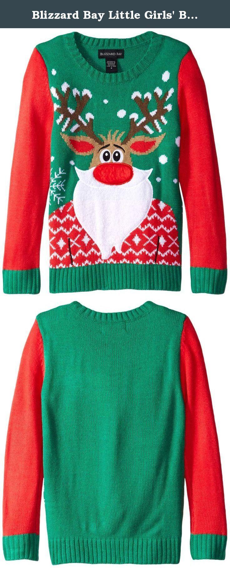 Blizzard Bay Little Girls' Bearded Rudolph Christmas Sweater ...