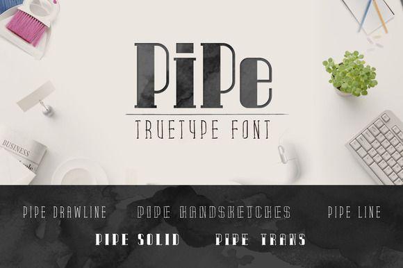 Pipe TrueType Font by alphadesign on @creativemarket