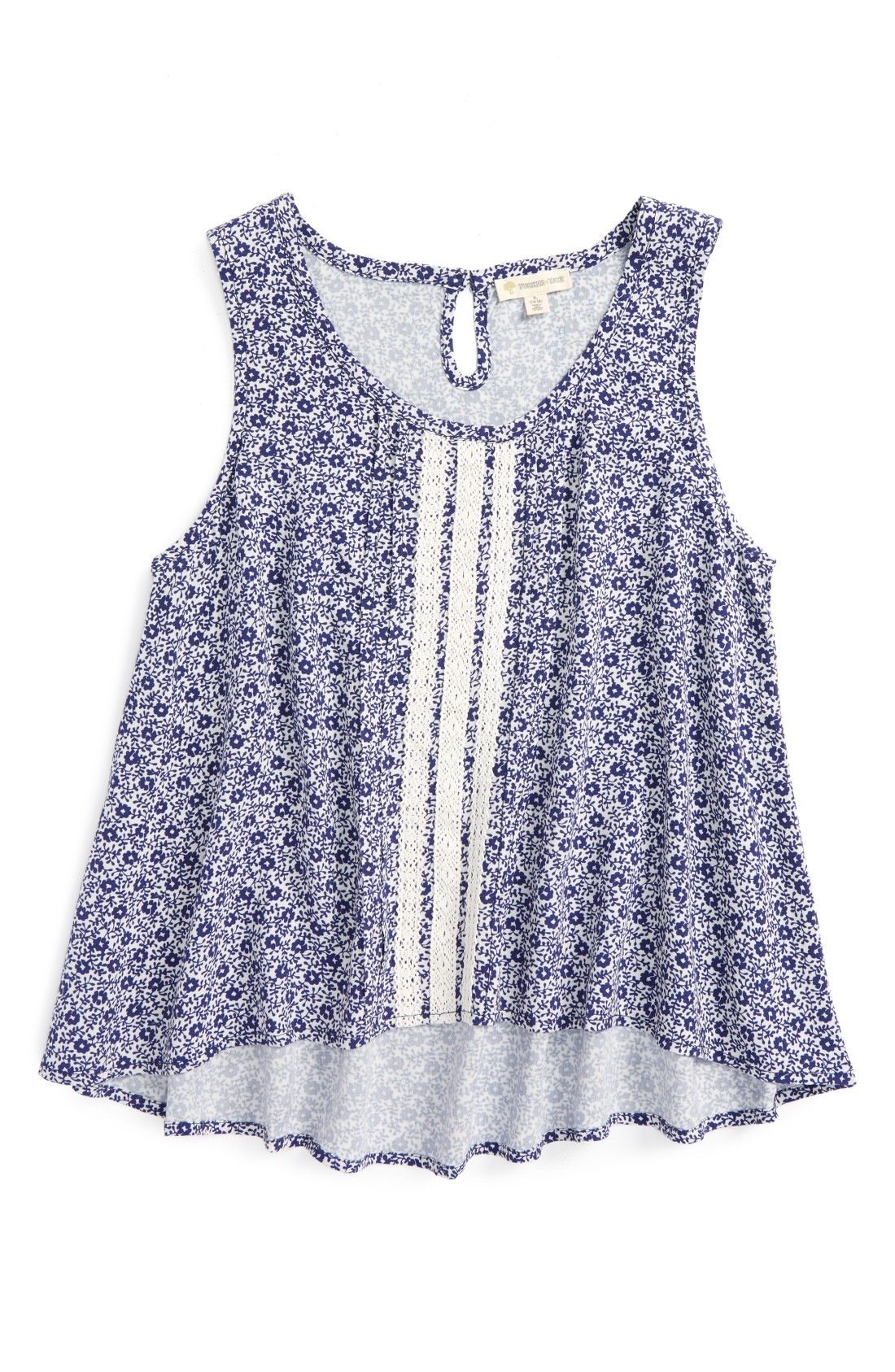 b53e3103025a Tucker Tate Lace Panel High Low Tank (Big Girls) available at  Nordstrom