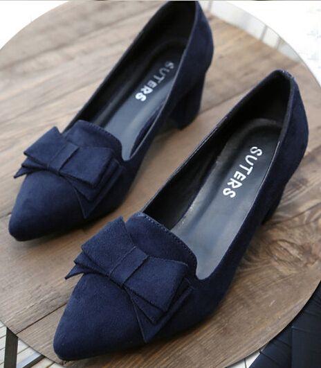 Encontrar Más Bombas Información acerca de 2015 de primavera y otoño mujer bombas de punta estrecha talón grueso de tacón alto tamaño grande 34 a 41 mujer zapatos scarpe donna di marca, alta calidad Bombas de ONLY -- ONE en Aliexpress.com