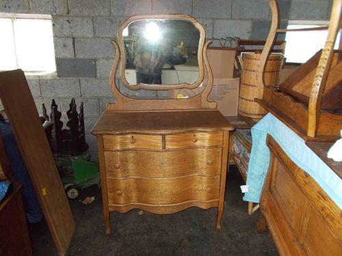 Details About Antique Oak Dresser With Mirror Entry