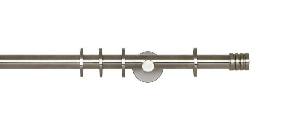 Neo 19mm Stainless Steel Effect Curtain Pole with Stud Finials ...