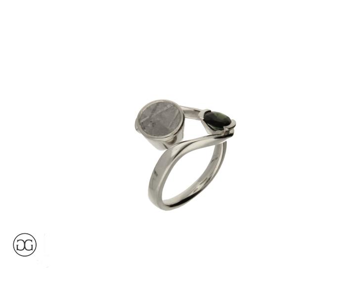 Verlobungsring Silber 935 Mit Meteorit Kundenmaterial Und Turmalin