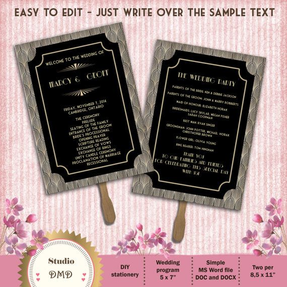printable wedding program template art deco great gatsby