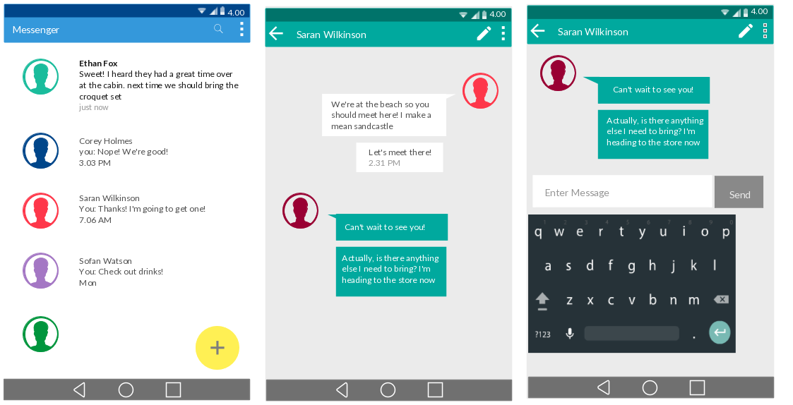 Messaging App - Android UI Mockup - Android Lollipop