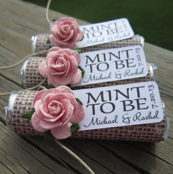 Wedding Favors Set Of 100 Mint Rolls To Be With Personalized Tag Burlap Pale Pink Rose Rustic Shabby Chic