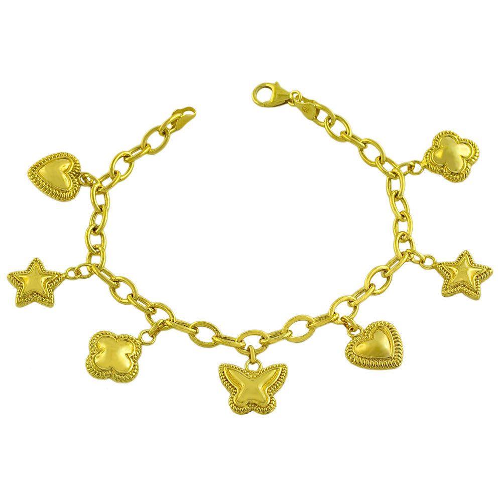 Gold over Sterling Silver Heart/ Star/ Flower Charm Bracelet