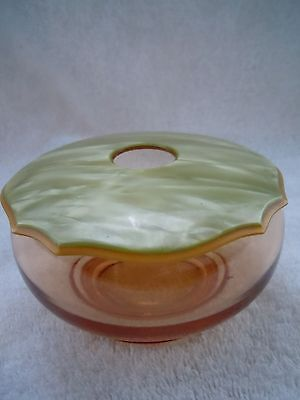 Vintage Hair Receiver Amber Glass With Green Marble Bakelite Cover