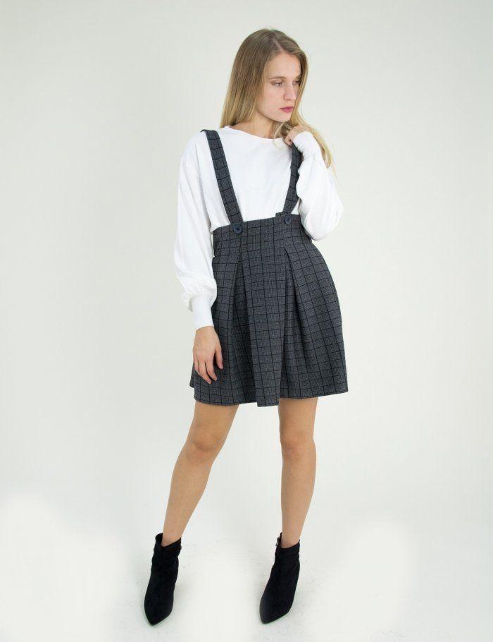 Γυναικεία ανθρακί κλος καρό φούστα με τιράντες 17708  γυναικείες  φούστες   μινι  φθινοπωρινές 2ed8c94fc82