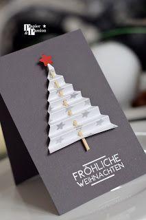 Papier und Passion: Tannbäume #2 #weihnachtskartenbastelnmitkindern