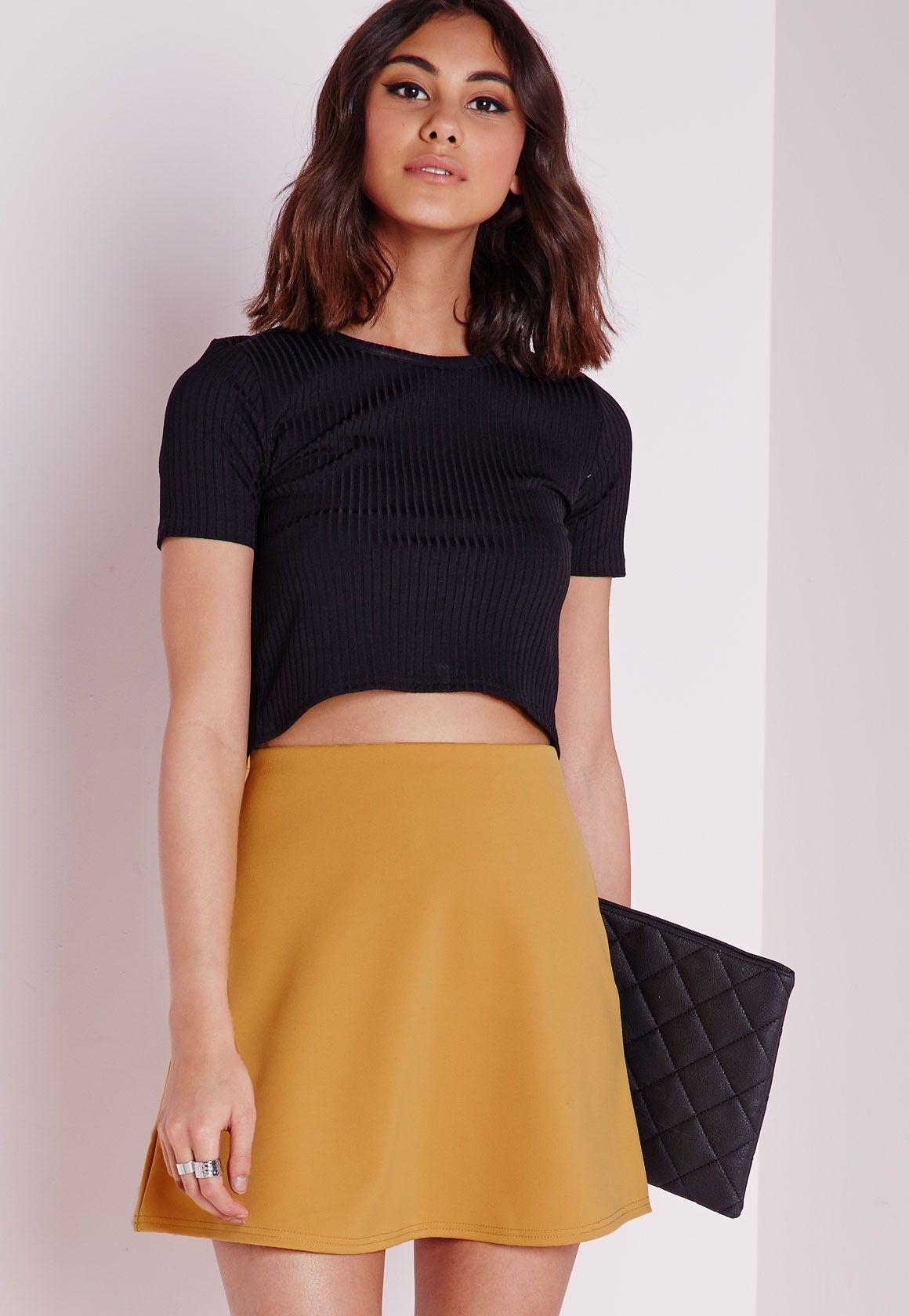 Scuba A Line Skirt Mustard - A Line - Skirts - Missguided | Going ...