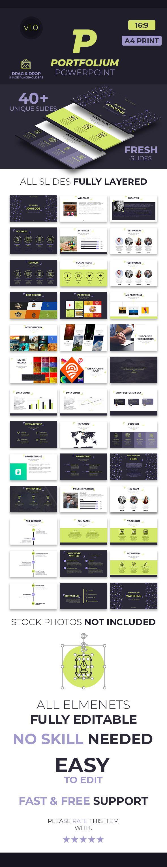Portfolium Portfolio Powerpoint Presentation Template Powerpoint Presentation Templates Powerpoint Presentation Presentation Templates