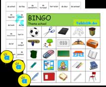 Bingo thema school om met anderstalige nieuwkomers en leerlingen Nederlands te oefenen.