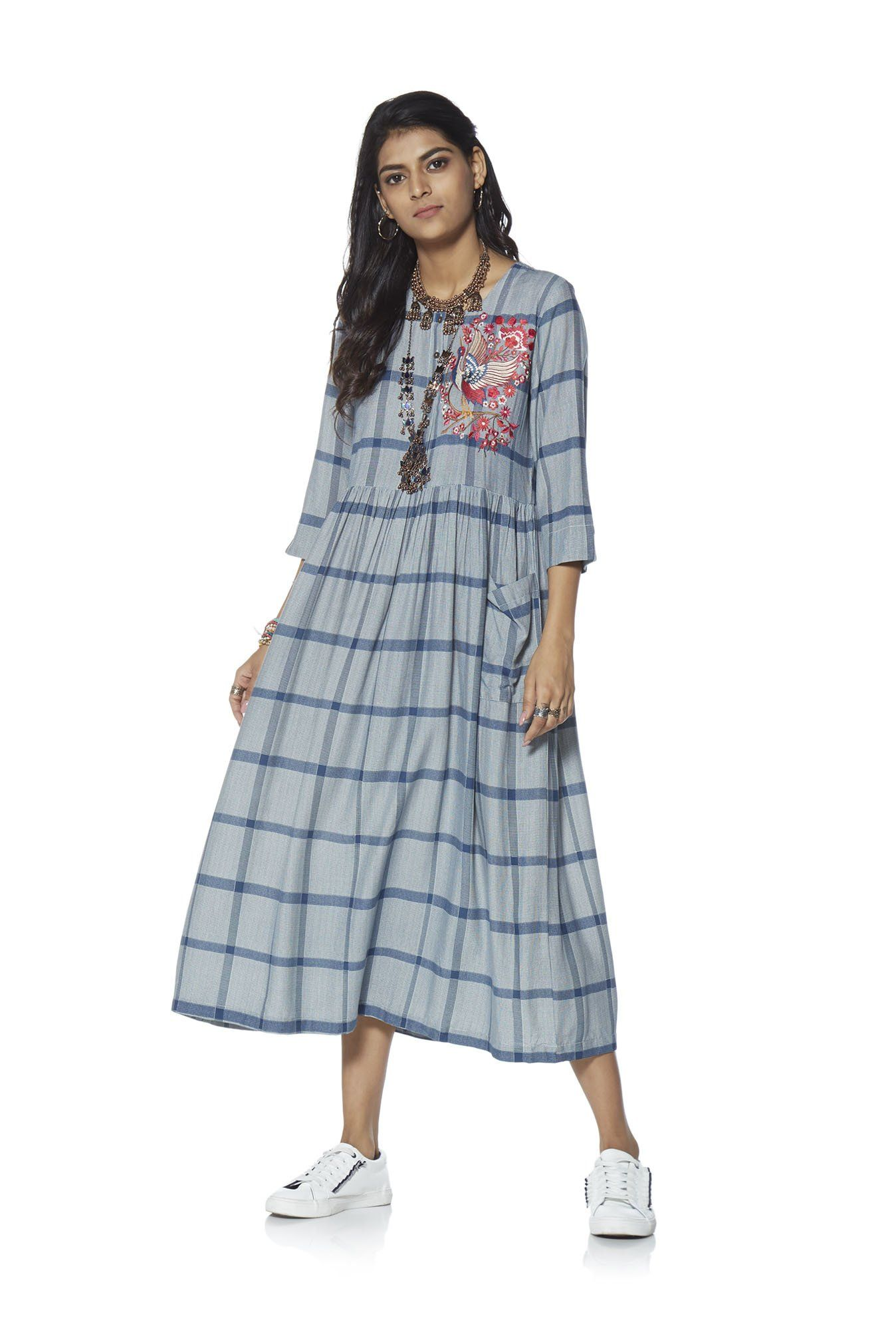 5f757217cb55 Bombay Paisley by Westside Blue Fit-And-Flare Checked Dress ...