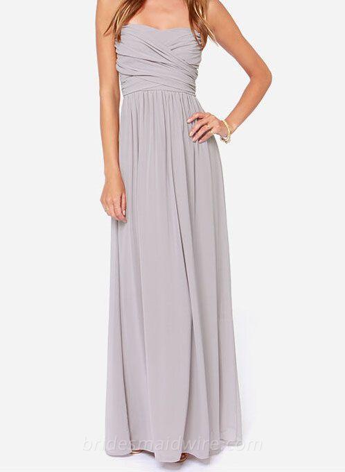Neutral Grey Strapless Sweetheart Long Chiffon Bridesmaid Dress
