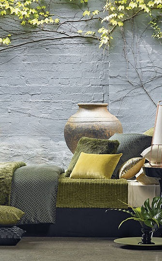 shades of green and grey on the patio