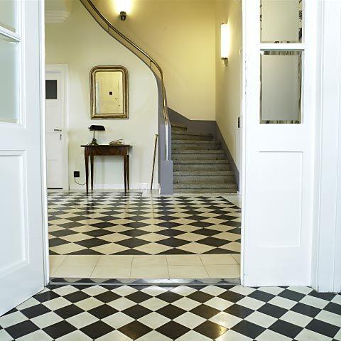 zementfliesen In Pinterest Schwarz weiß, Eingang und Flure - wohnzimmer fliesen schwarz