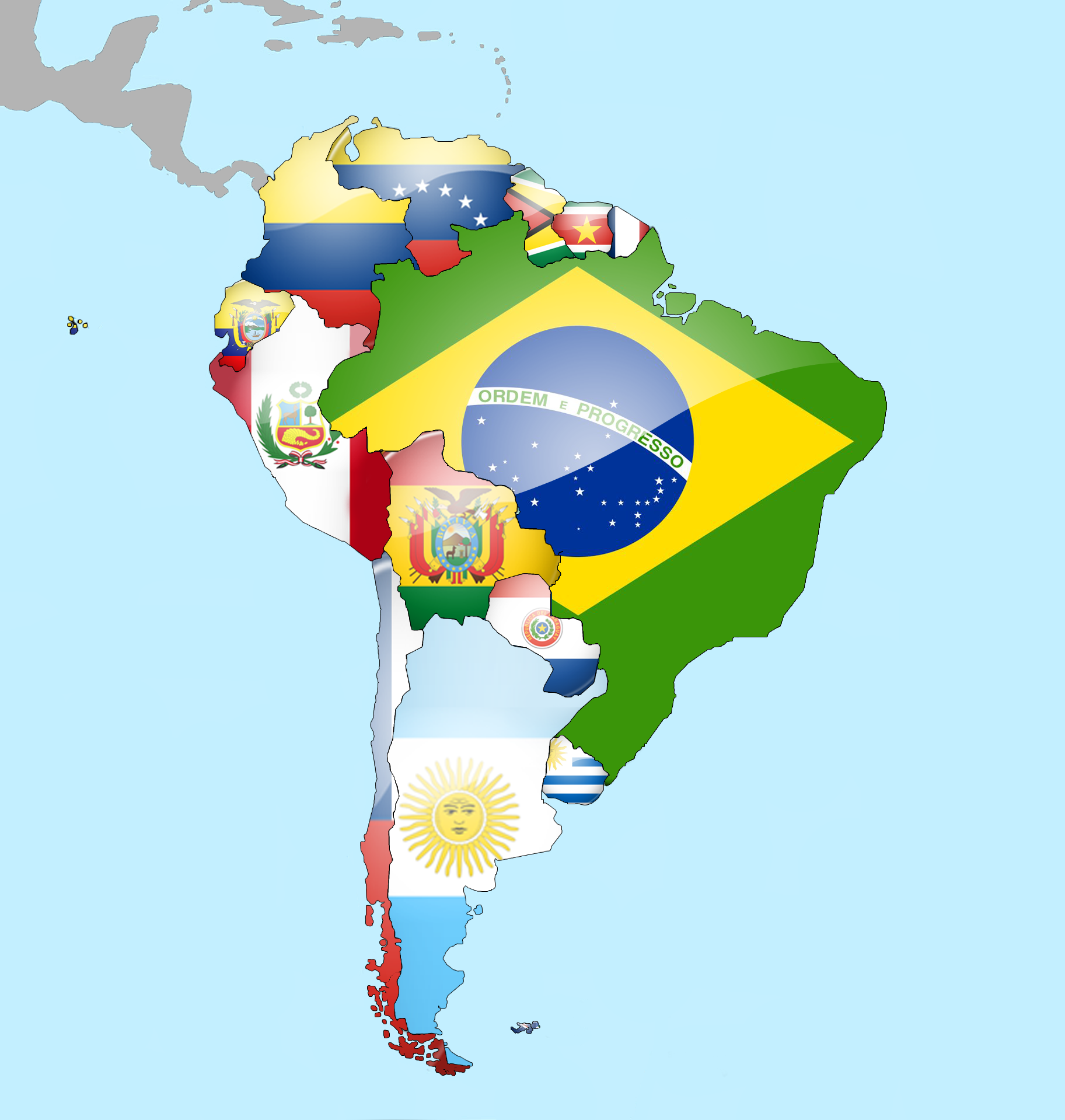 South America Flags Map South America Flags