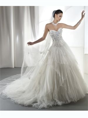 White A Line Sweetheart Beads Tulle 2014 Wedding Dresses AWD100003