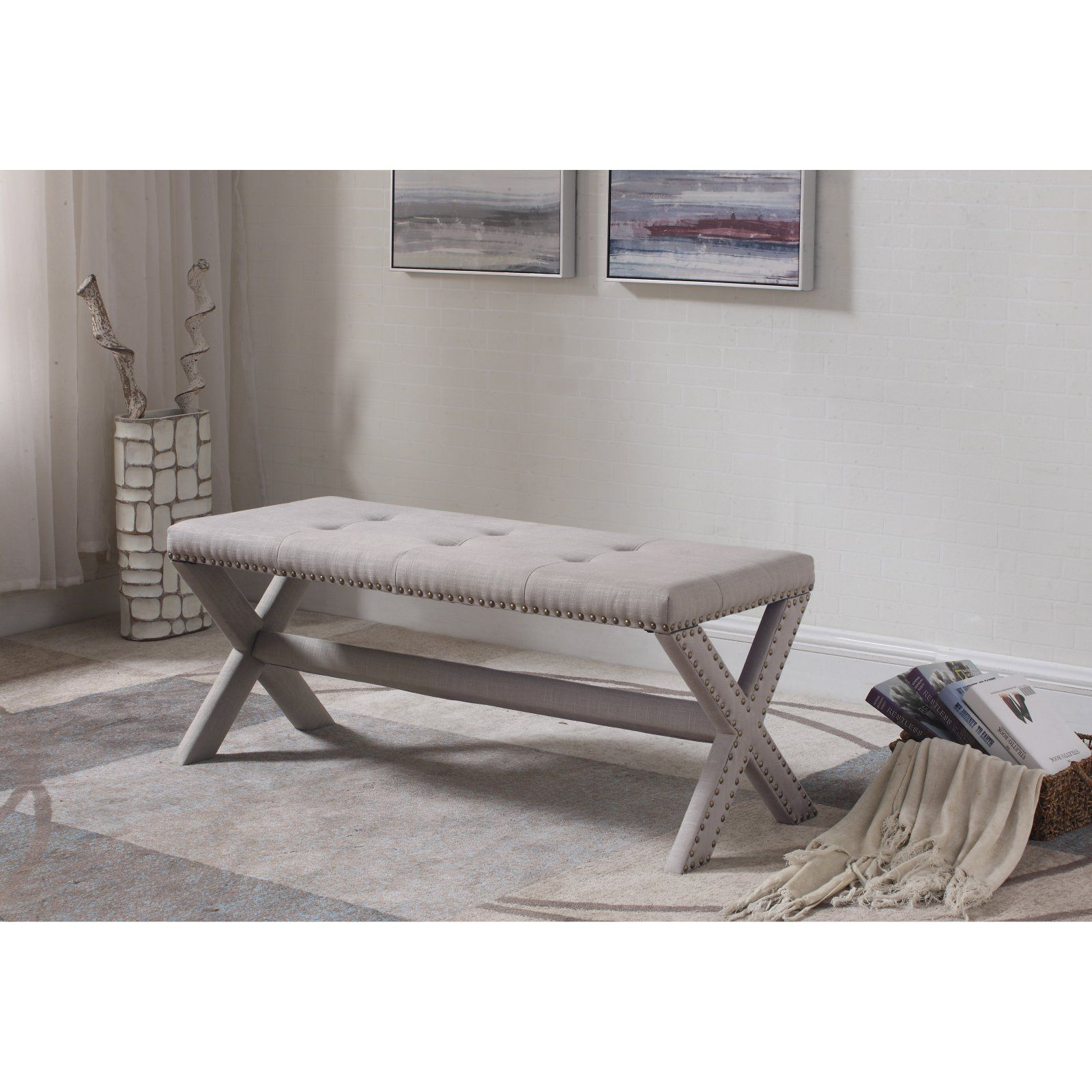 best master furniture linen blend accent bench with nailhead trim in rh pinterest com