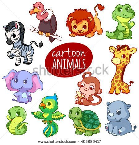 Cartoon African Animals Cute Little Animals Isolated On A White Background African Animals Cute Animal Drawings Cute Little Animals