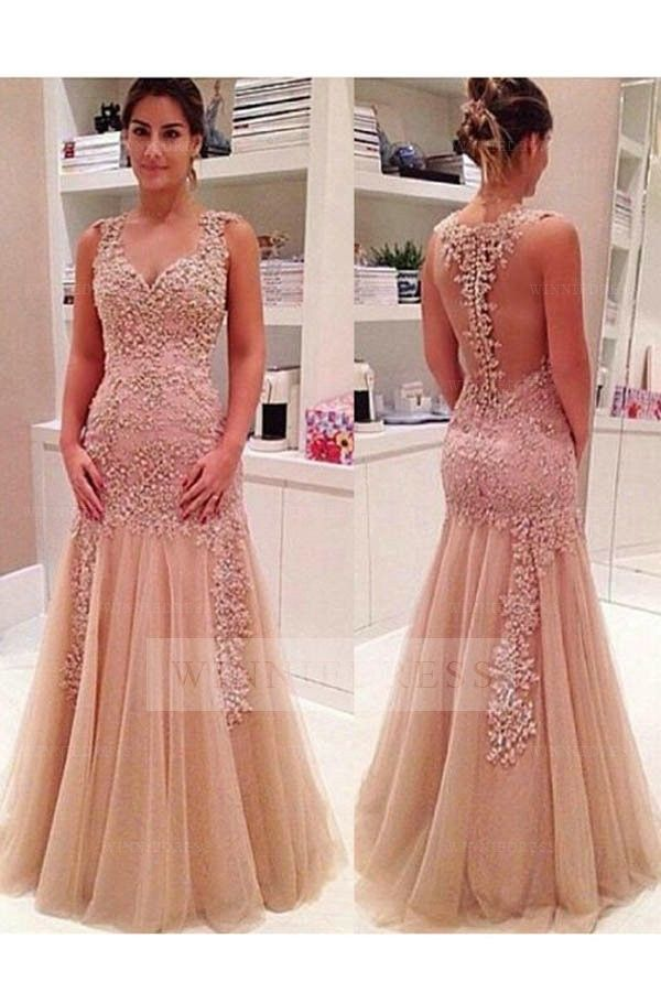 Shop discount Queen Anne Neckline Champagne Mermaid Tulle Sheer Back ...