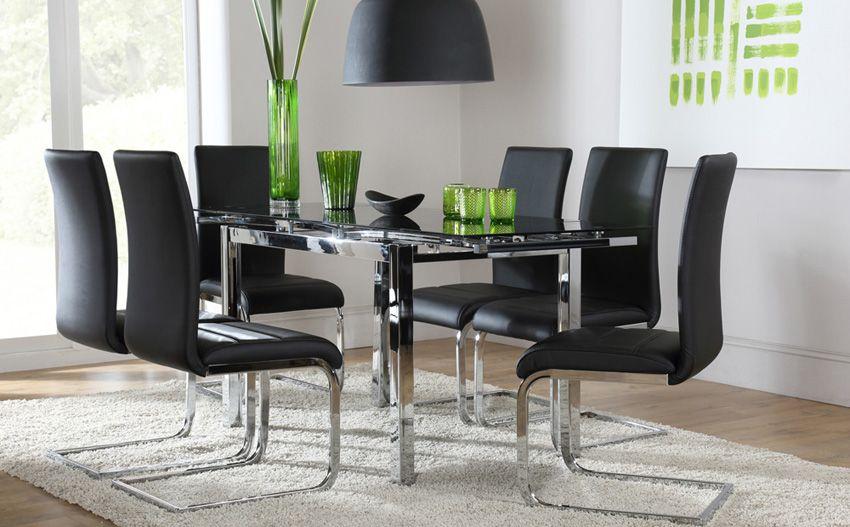 space black glass and chrome extending dining table living room rh pinterest com