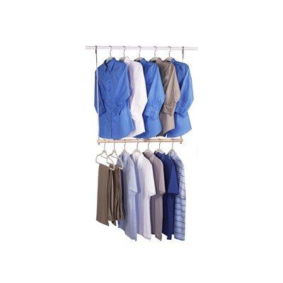 "Easy Hang Extra Closet Rod (34""H x 30""W) by Richards Homewares. $15.78. Works with any closet rod.. This hanging closet doubler rod will increase the space in your closet!. Color: Natural. Heavy duty chrome with solid wood dowels.. Size: 34""H x 30""W. Running short of closet rod space? Double your hanging capacity for shirts and trousers with this great closet doubler. Features a solid wood dowel w/ 28"" of hanging space."