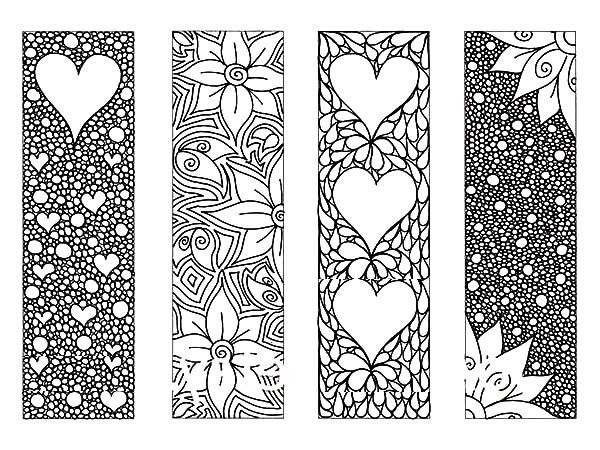 Bookmarks Full Of Flower Bookmarks Coloring Pages
