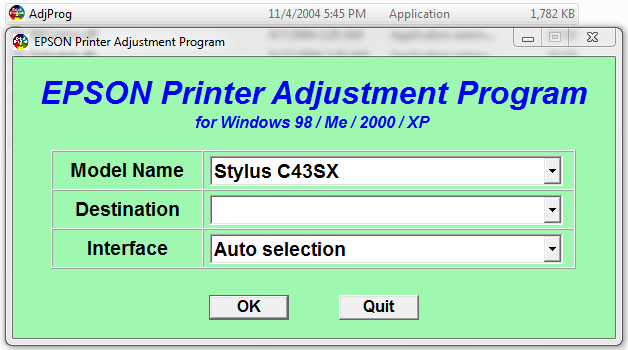 Epson Stylus C43SX Adjustment program (Reset Utility) Free